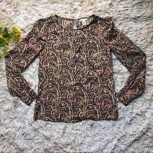 J. Crew key hole paisley patterned blouse